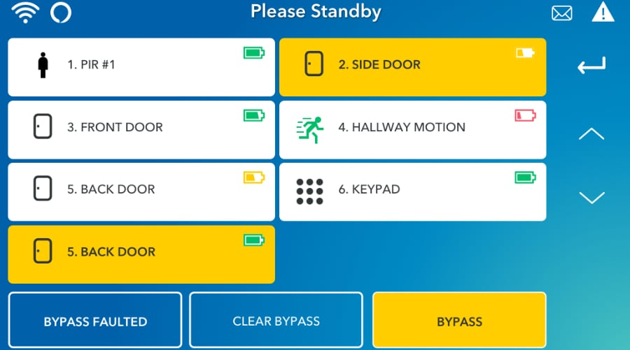 Roanoke security system command screen.